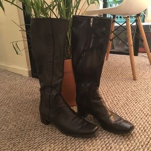 Leather Calf High Boots